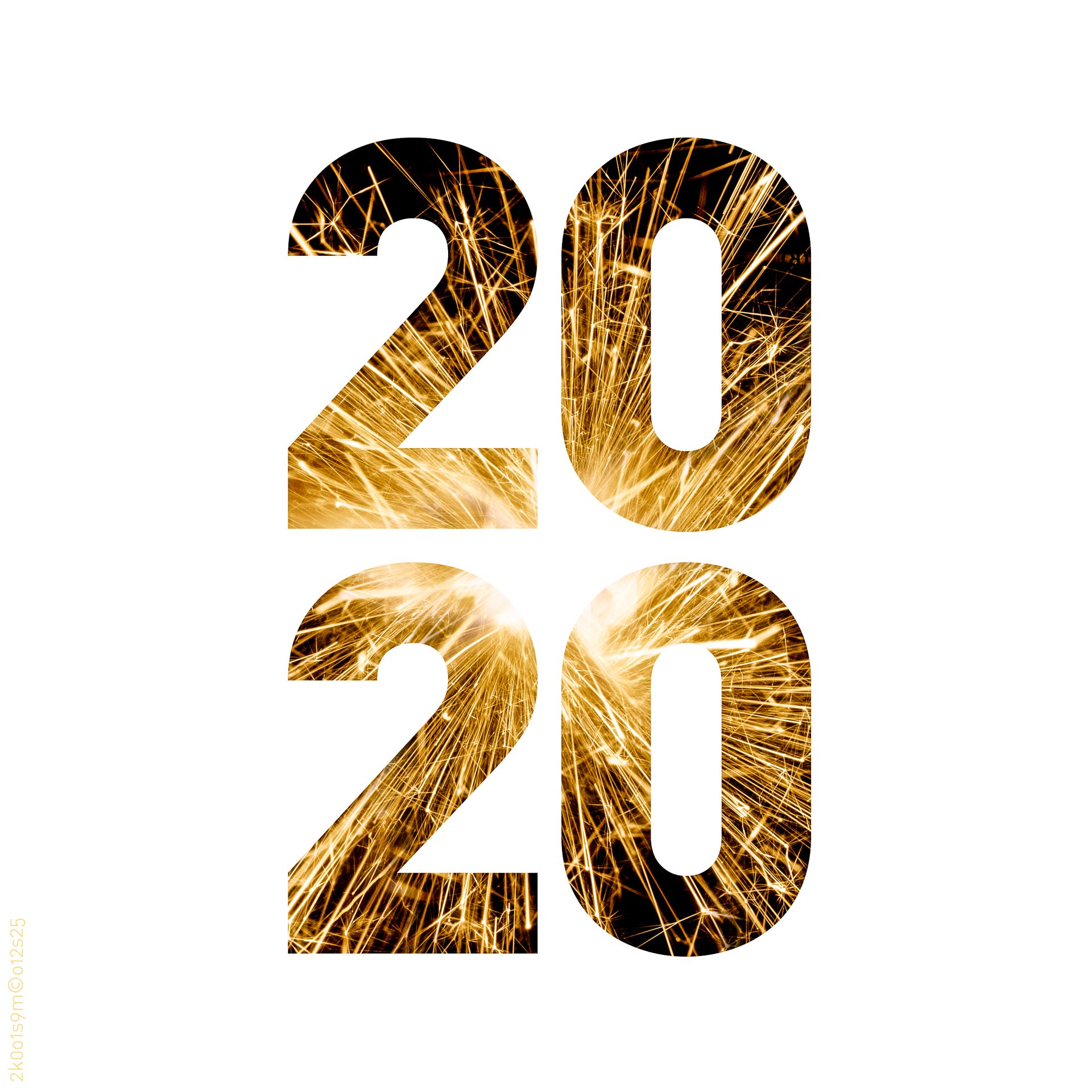 Nyttårsmarkering i form av fyrverkeribilde i årstallet «2020».