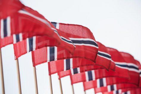 En rekke flagg