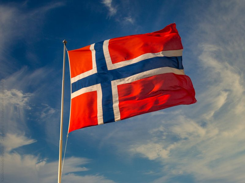 Norsk flagg i solen