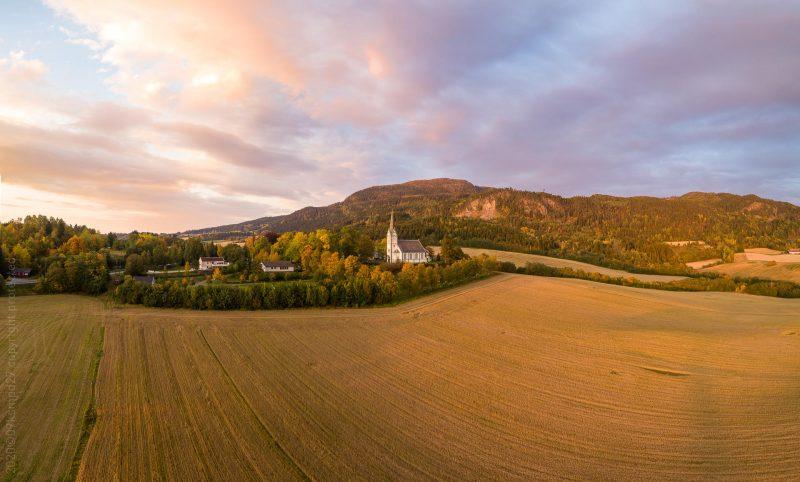 Skatval kirke aerial panorama